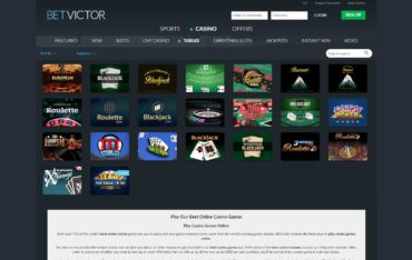 Betvictor.com - games selection