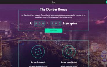 Dunder Casino Bonuses