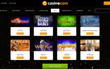 Casino.com Games selection