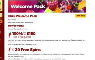 chilli-casino-welcome-bonus-package