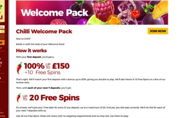 chilli-casino-welcome-bonus-package