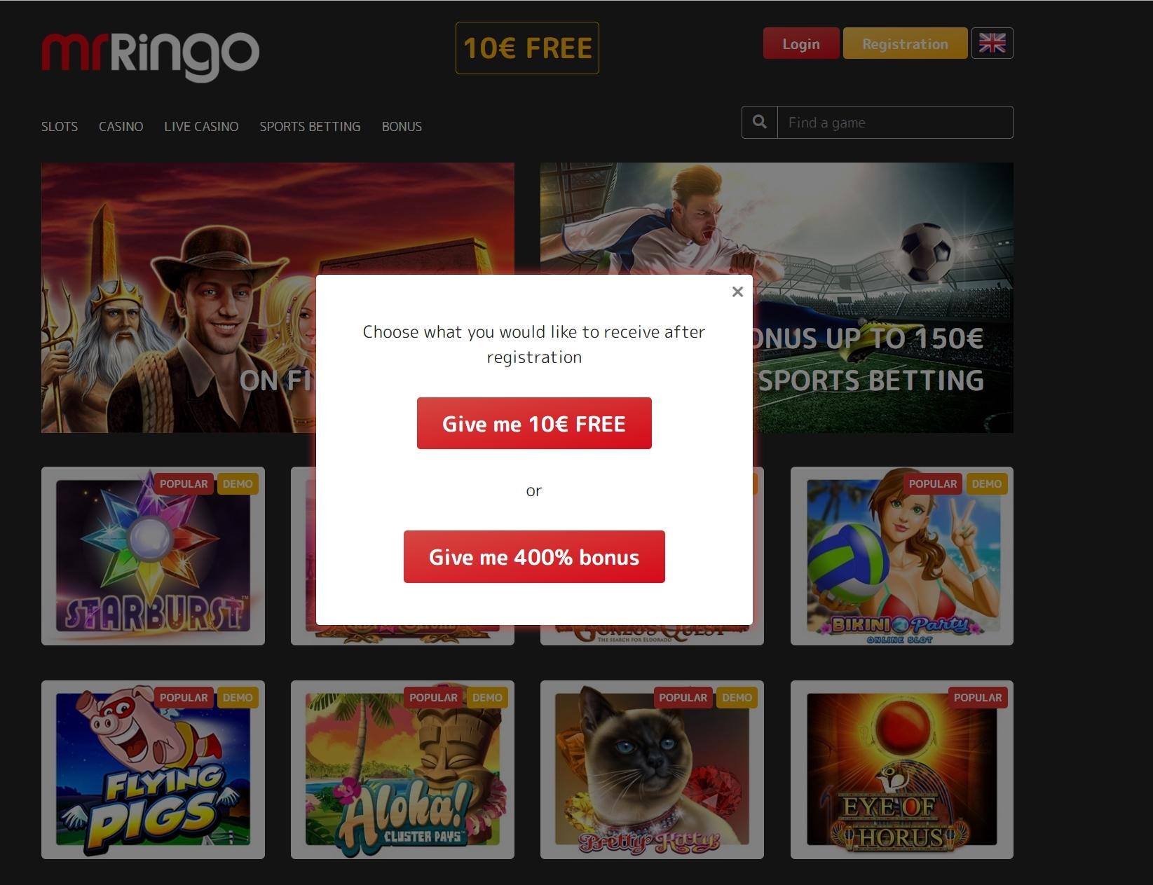 Mr Ringo casino bonuses