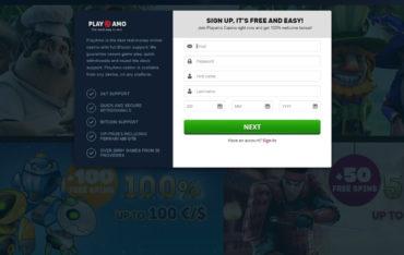 Registration at Playamo Casino