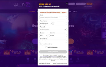 Sign Up at Winzz Casino