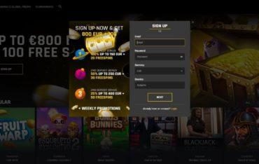 Sign Up at Casino Universe