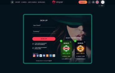 Sign Up at Vesper Casino