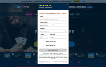 SignUp at Winown Casino