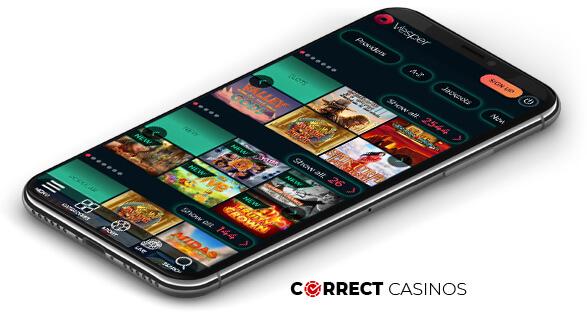 Vesper Casino - Mobile Version