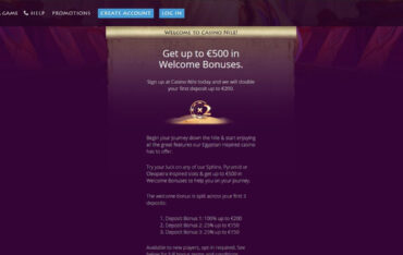 Promotions at Nile Casino