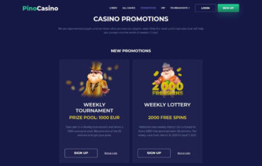 Promotions at Pino Casino