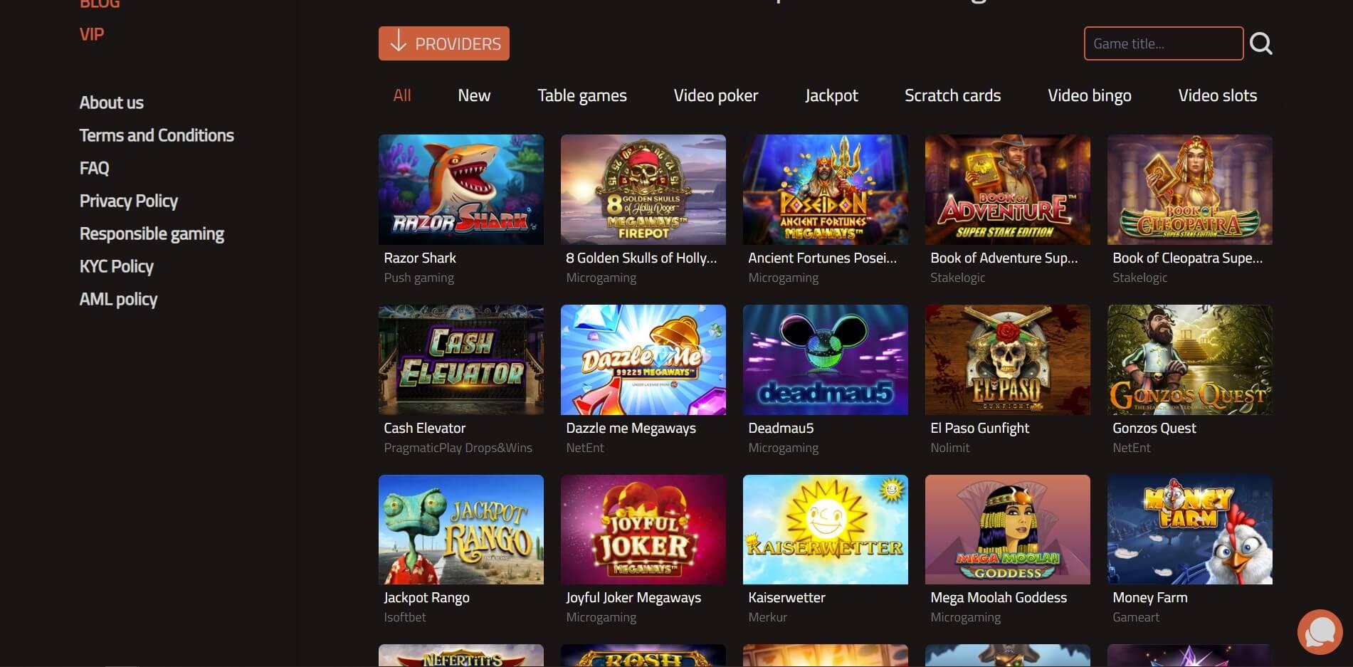 Games at 777Bay Casino