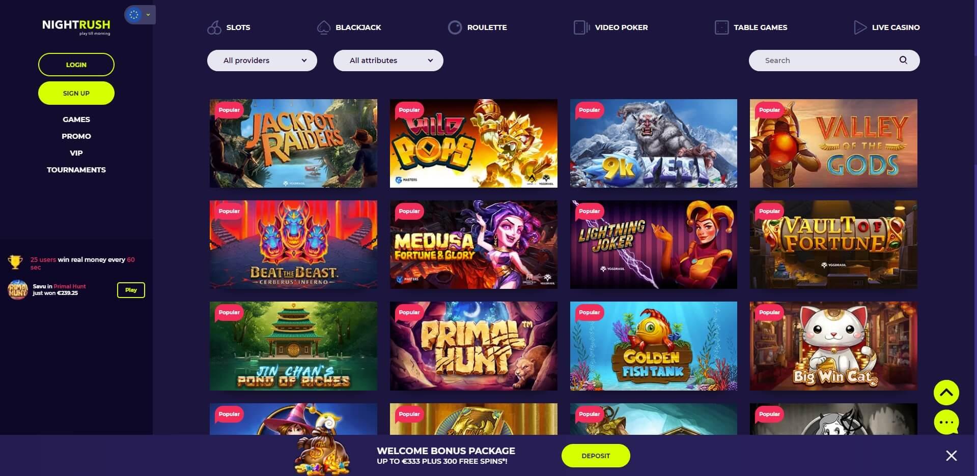 Games at NightRush Casino
