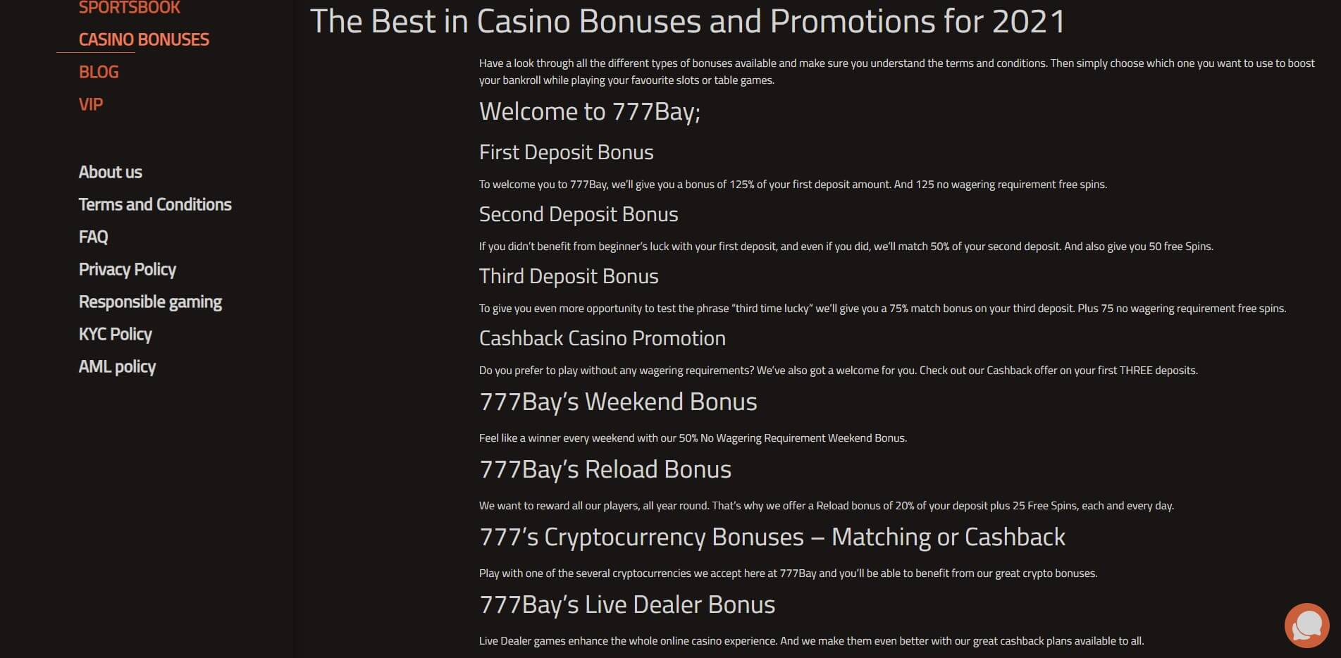 Promotions at 777Bay Casino