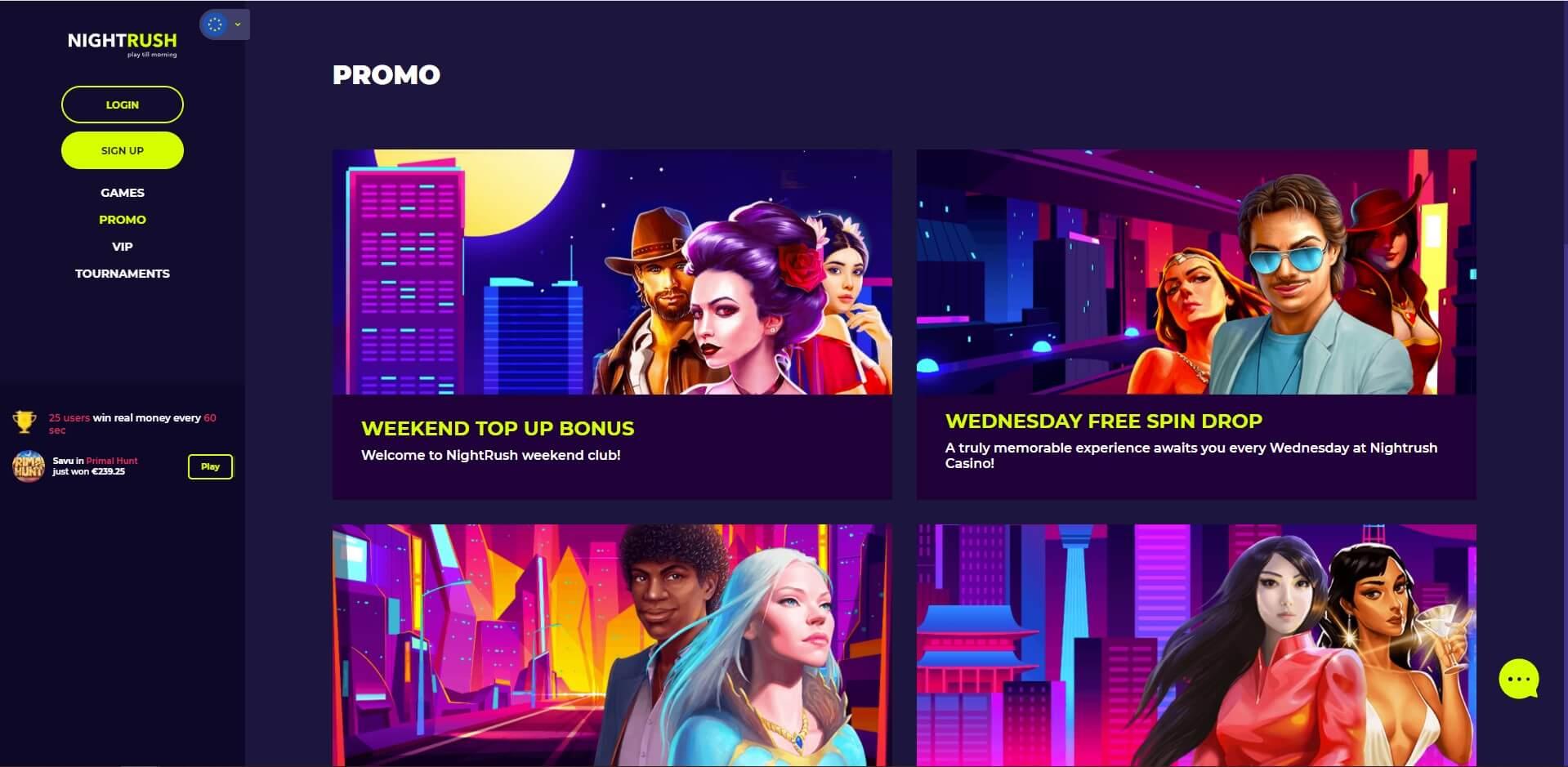 Promotions at NightRush Casino