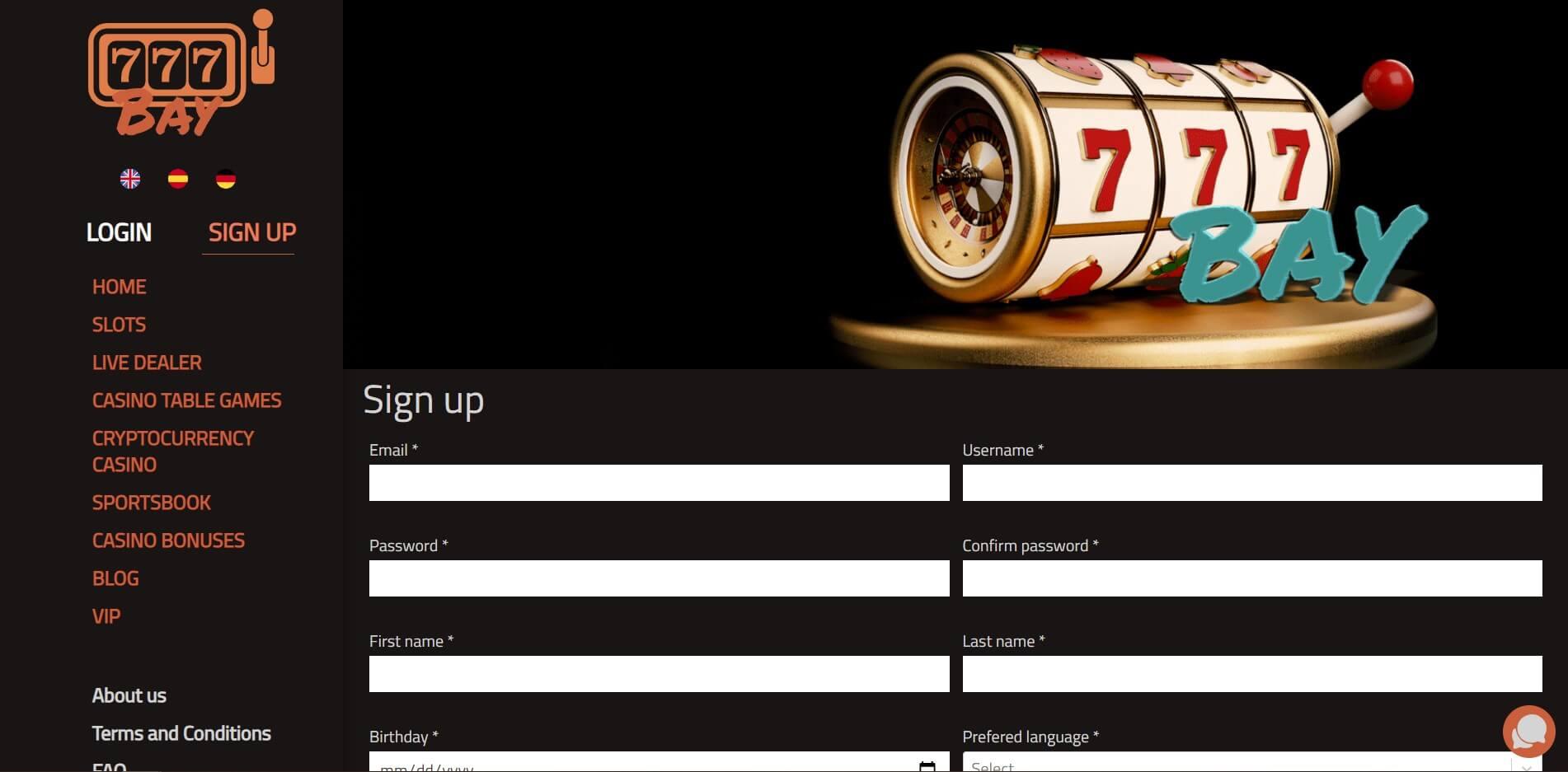 Sign Up at 777Bay Casino