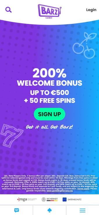 Barz Casino - Mobile Version