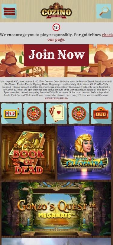 Cozino Casino - Mobile Version