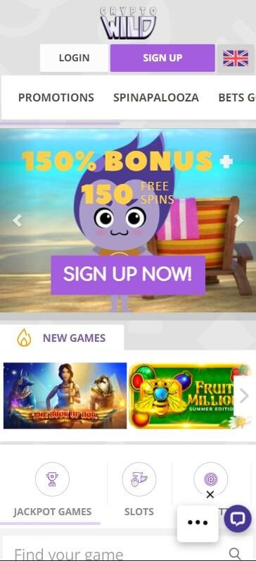 CryptoWild Casino - Mobile Version
