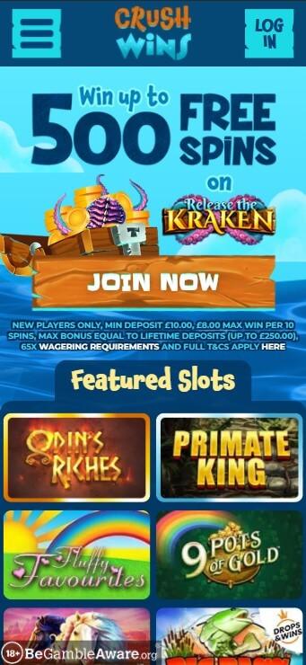 CurshWins Casino - Mobile Version