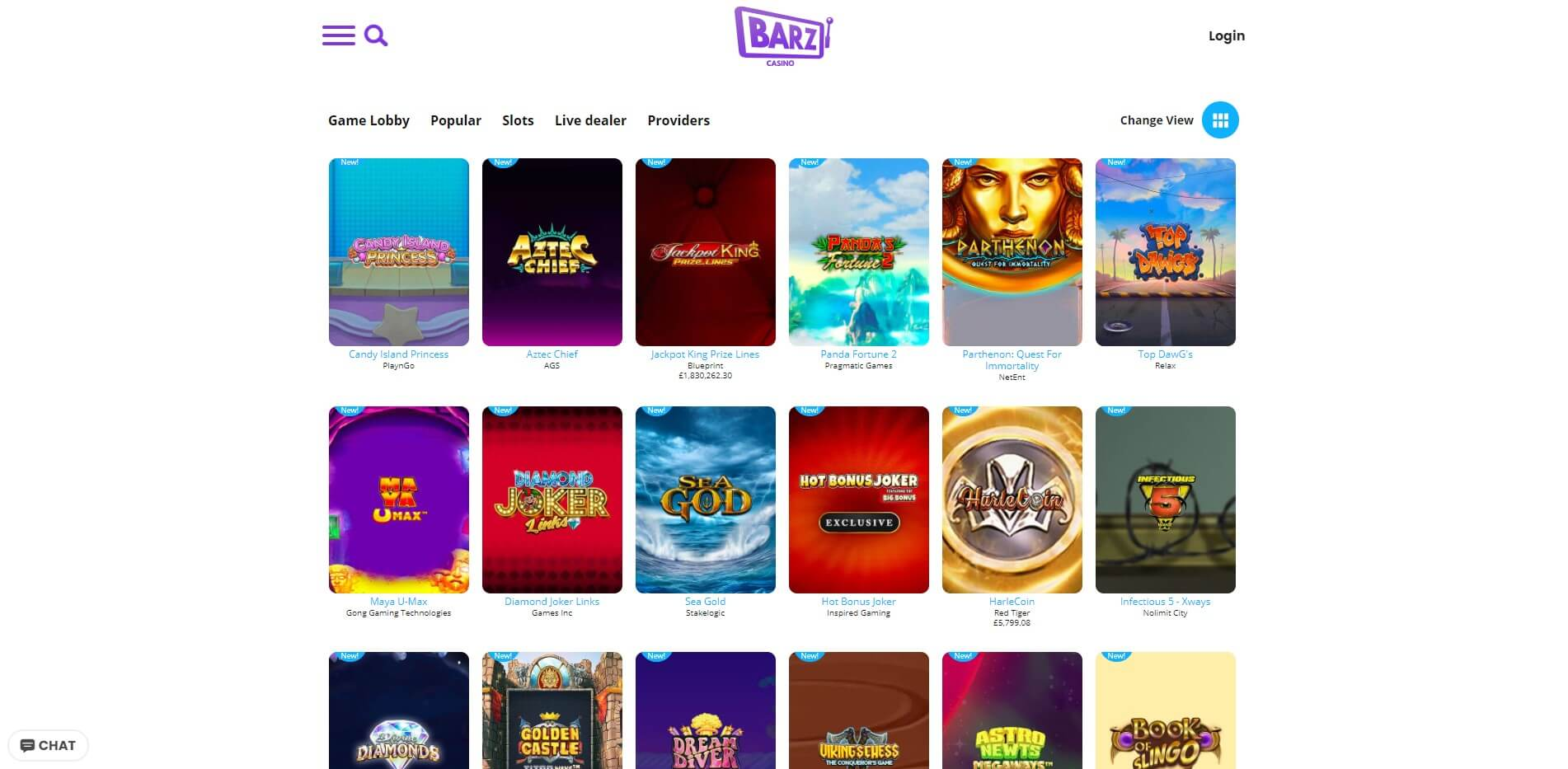 Games at Barz Casino