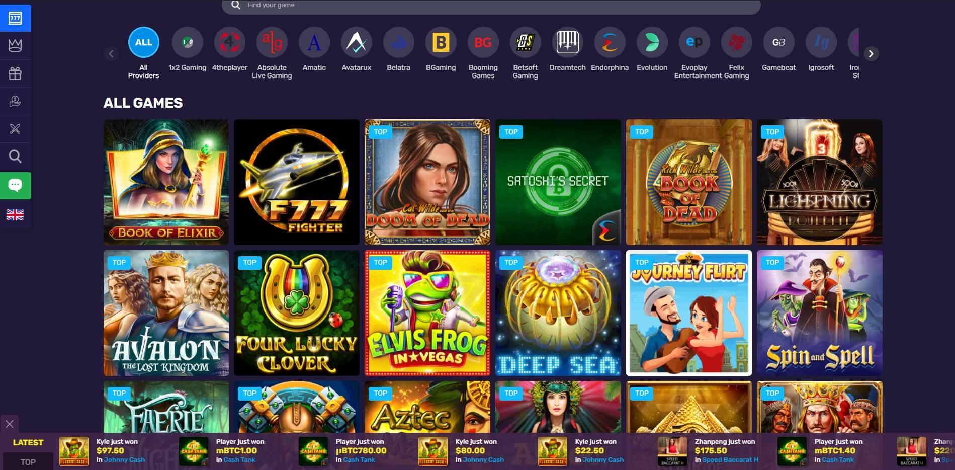 Games at Bitcoin Casino