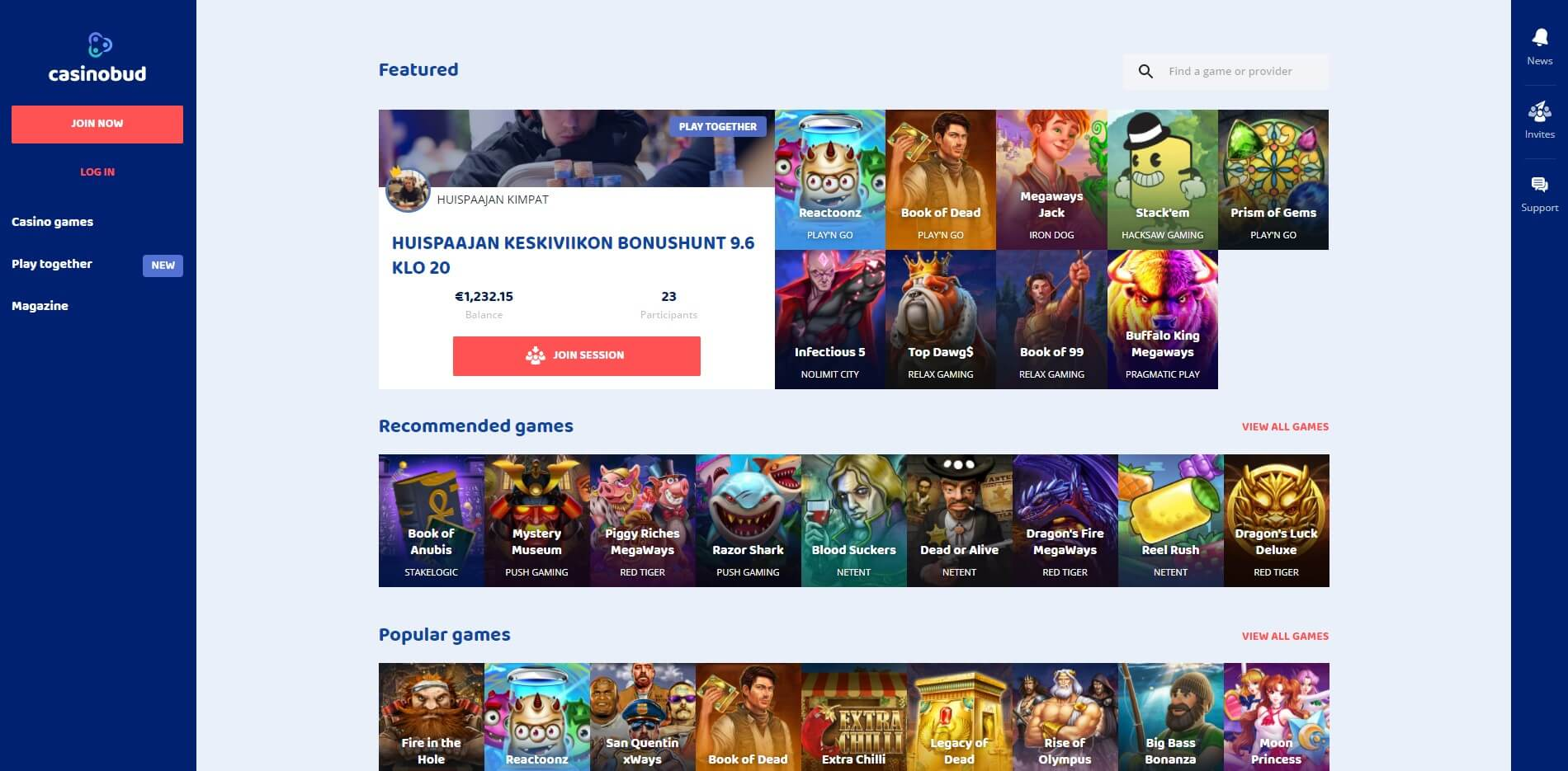 Games at CasinoBud