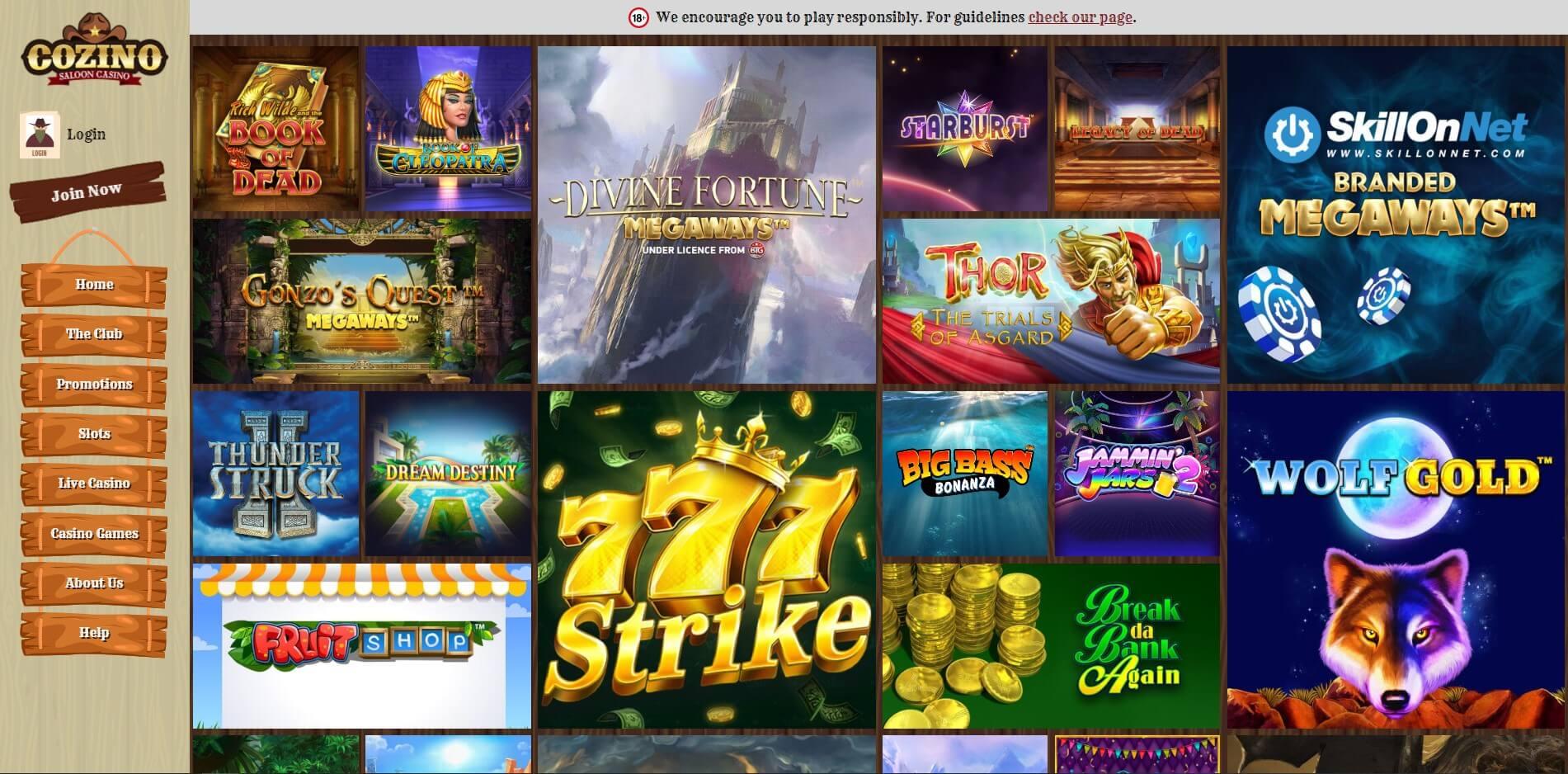 Games at Cozino Casino
