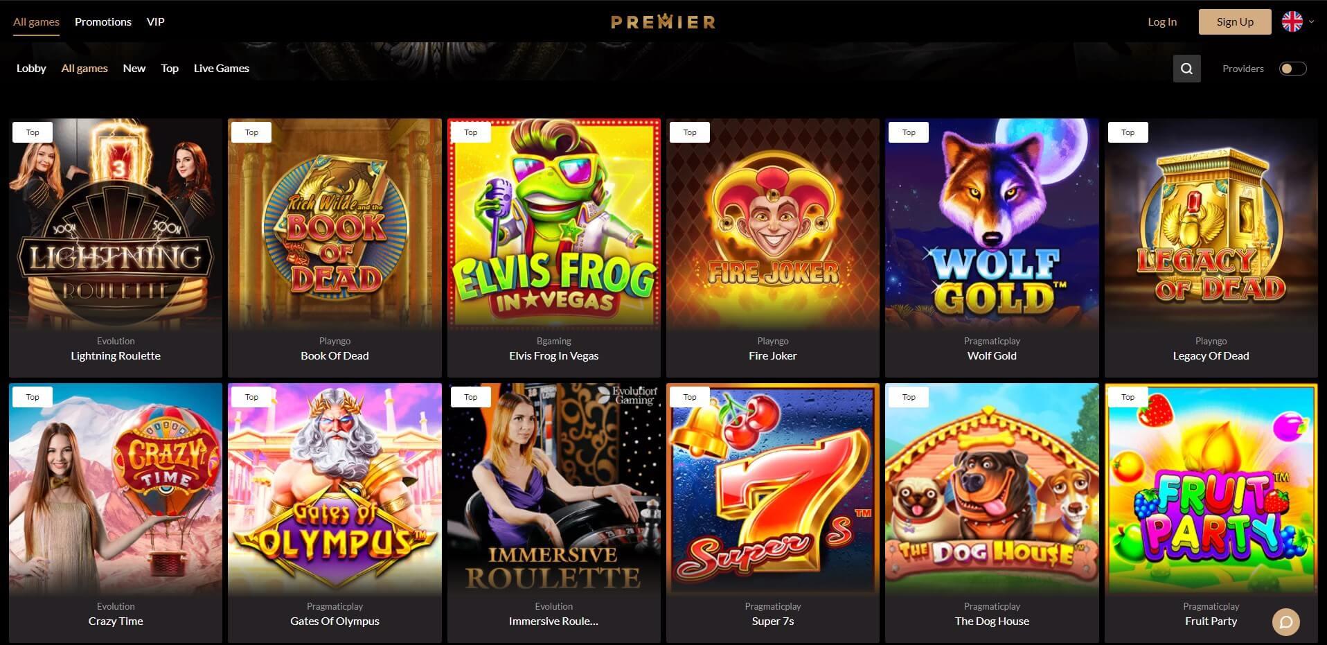 Games at Premier Casino