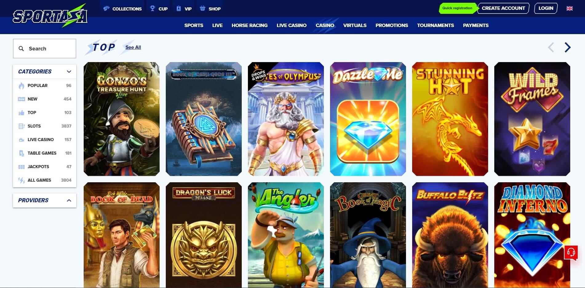 Games at Sportaza CAsino