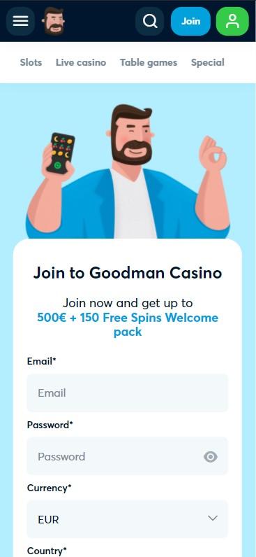 Goodman Casino - Mobile Version