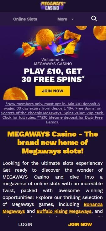 Megaways Casino - Mobile Version