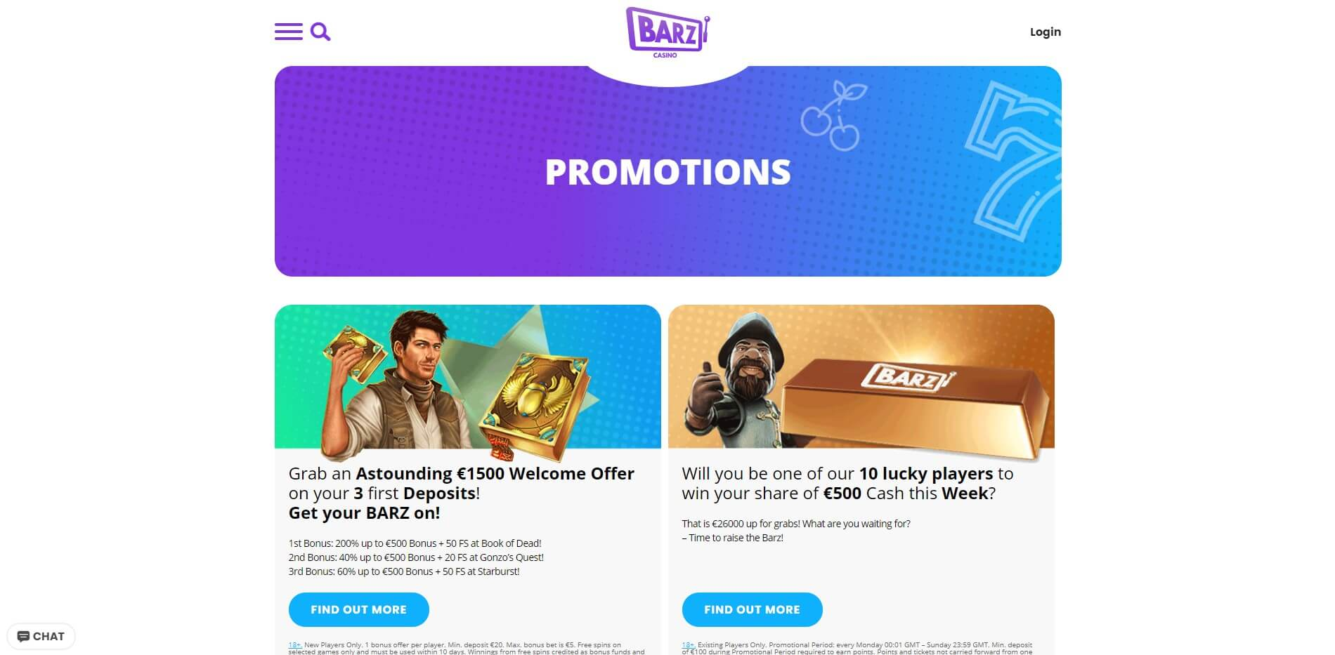 Promotions at Barz Casino