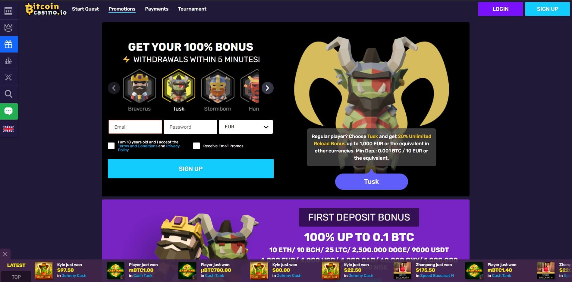 Promotions at Bitcoin Casino