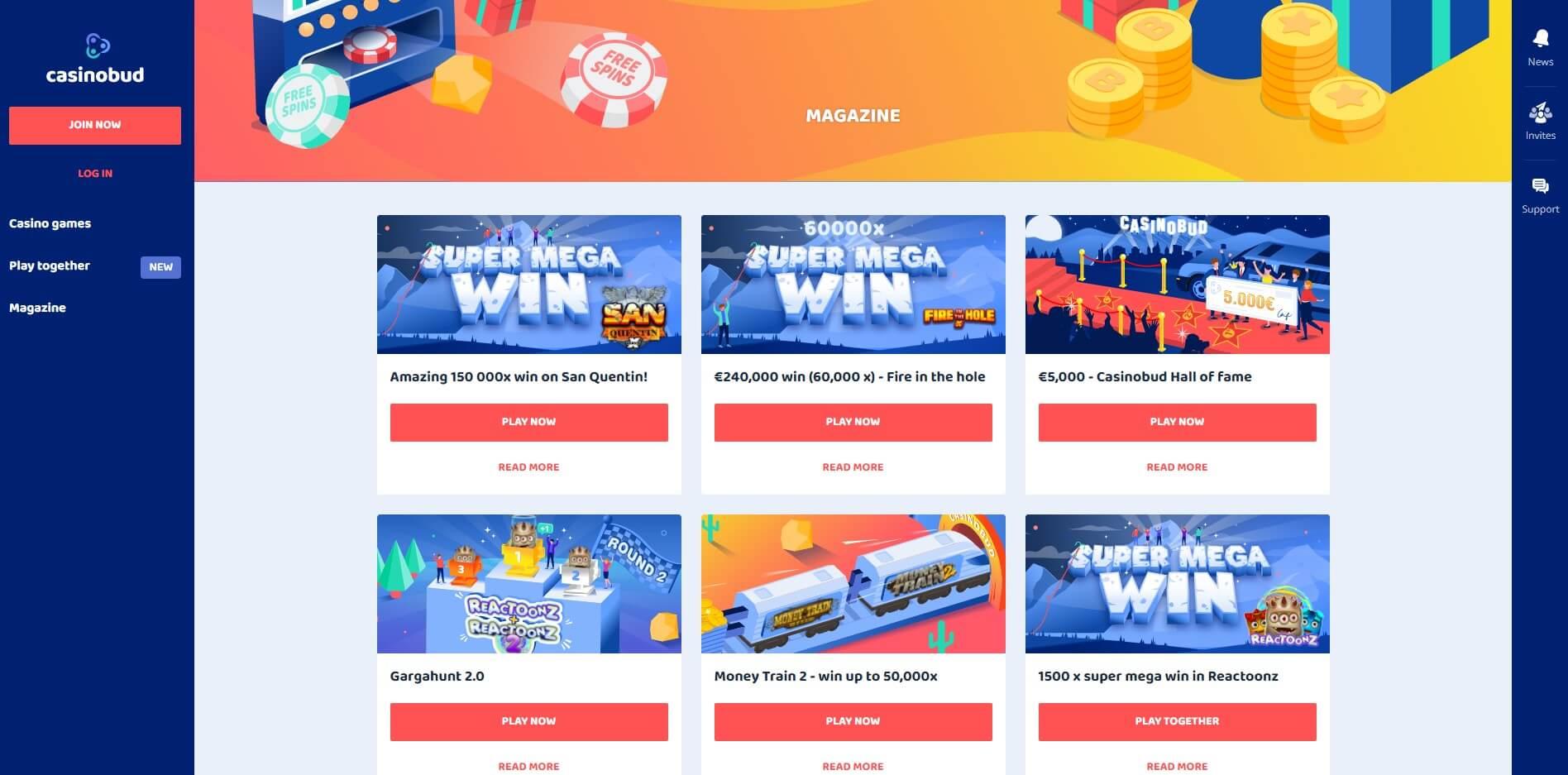 Promotions at CasinoBud