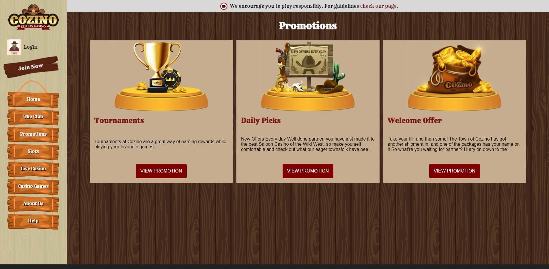 Promotions at Cozino Casino