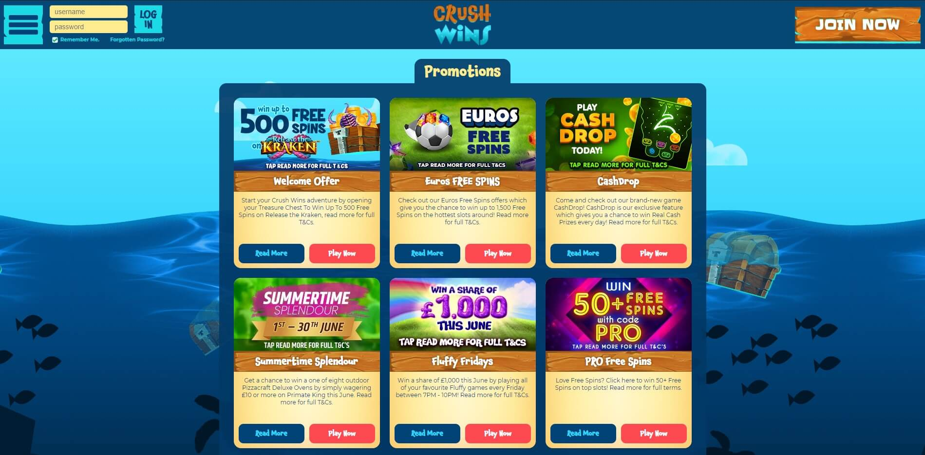 Promotions at CrushWins Casino