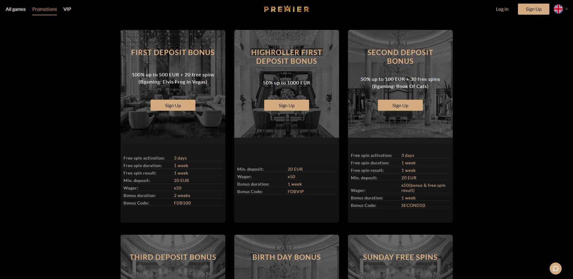 Promotions at Premier Casino