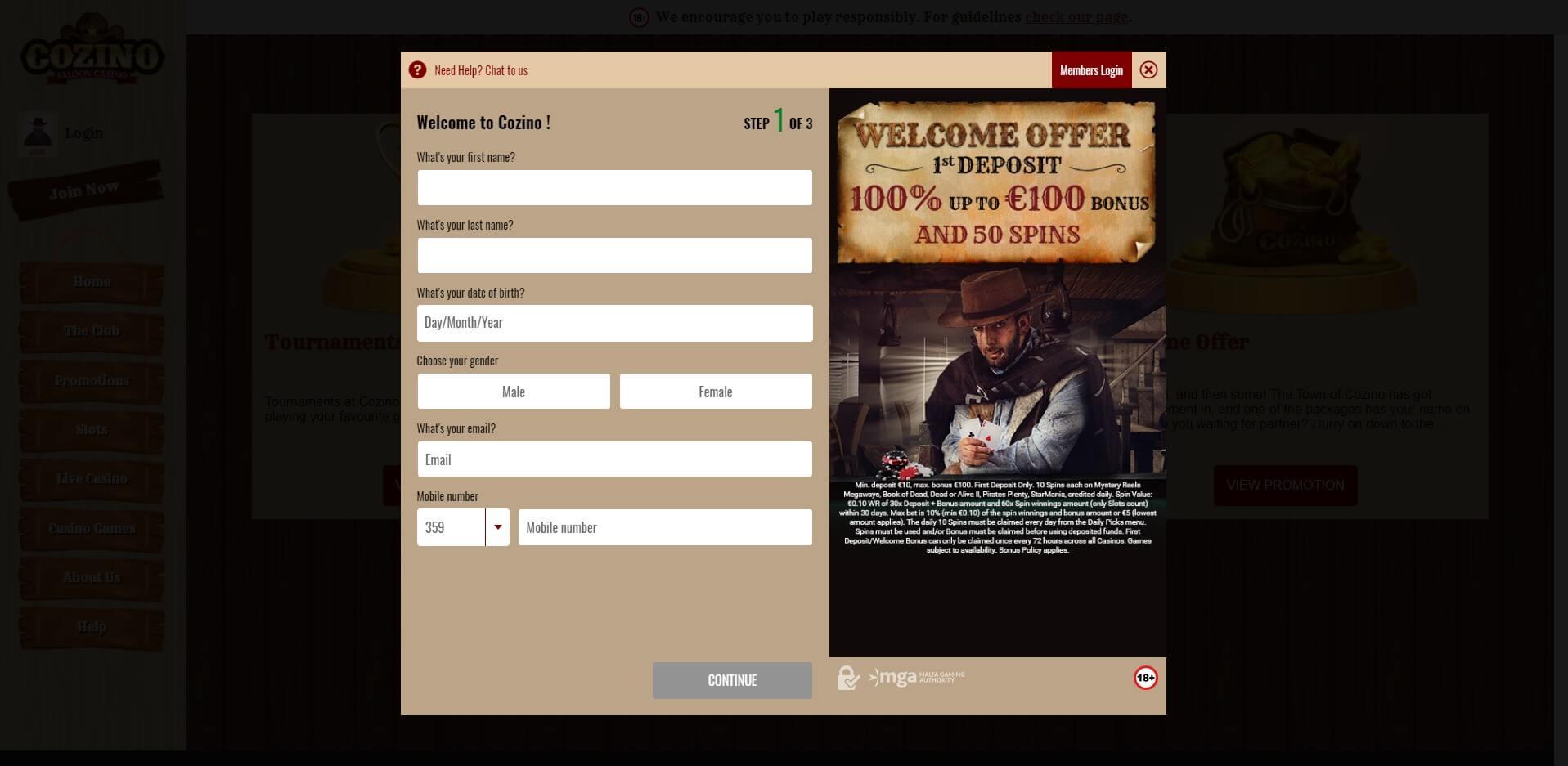Sign Up at Cozino Casino
