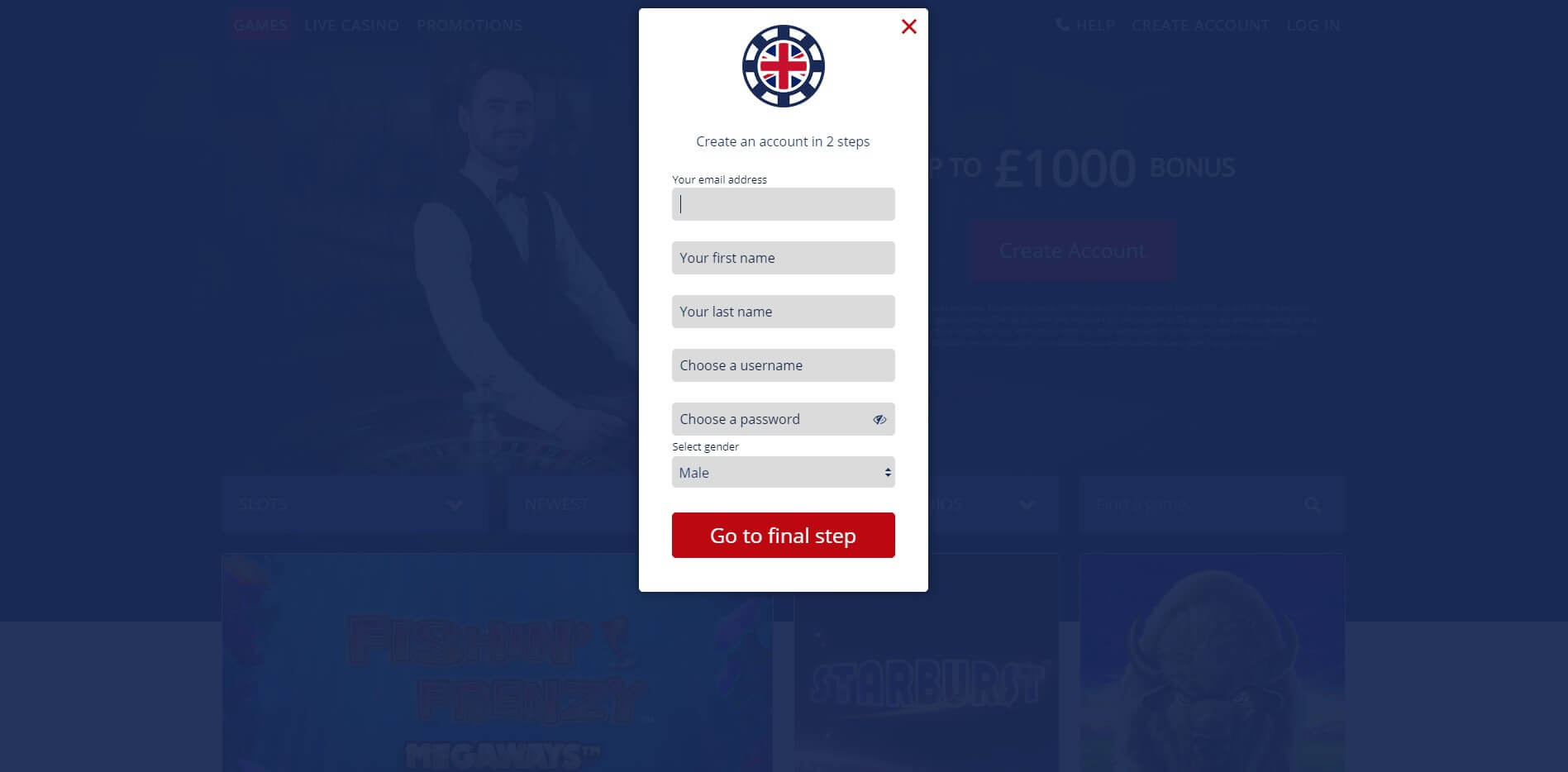 Sign Up at Great British Casino