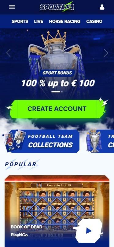 Sportaza Casino - Mobile Version