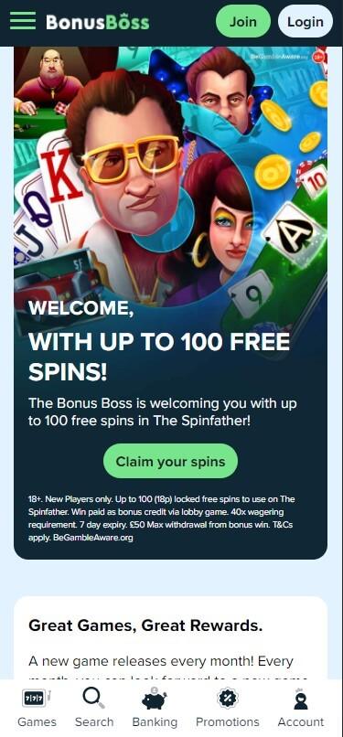 BonusBoss Casino - Mobile Version