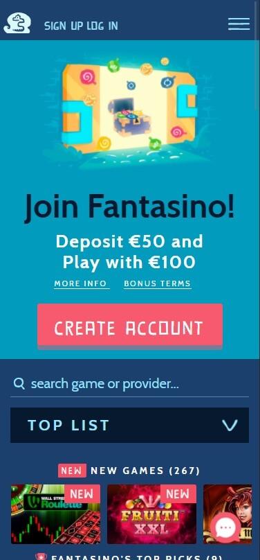 Fantasino Casino - Mobile Version