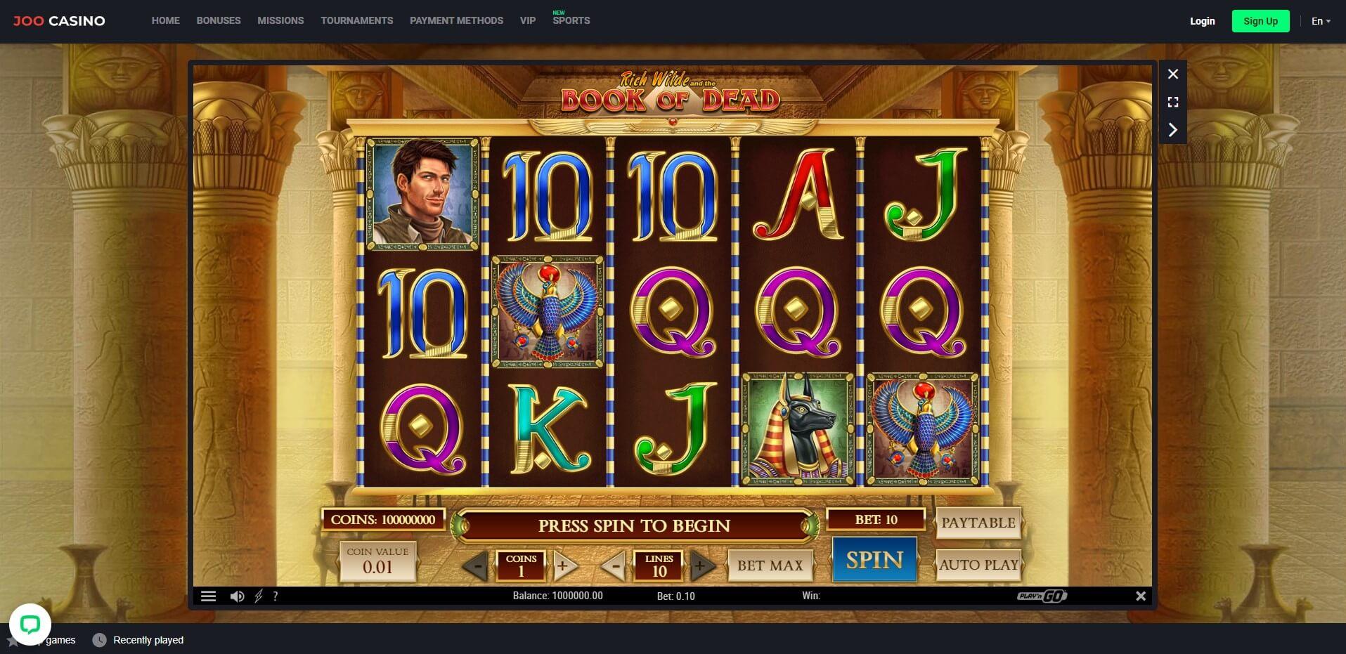 Game Play at Joo Casino
