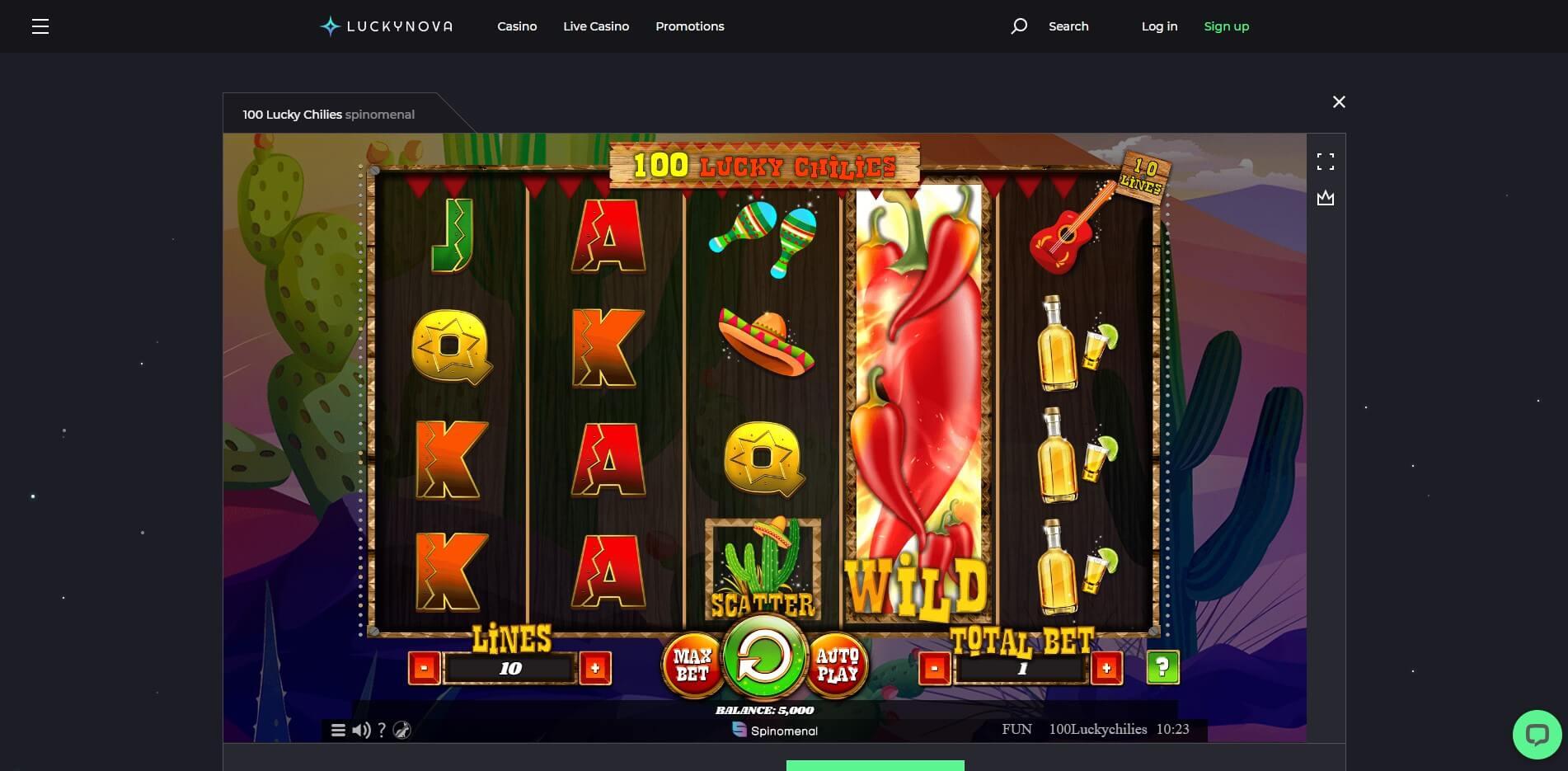 Game Play at LuckyNova Casino