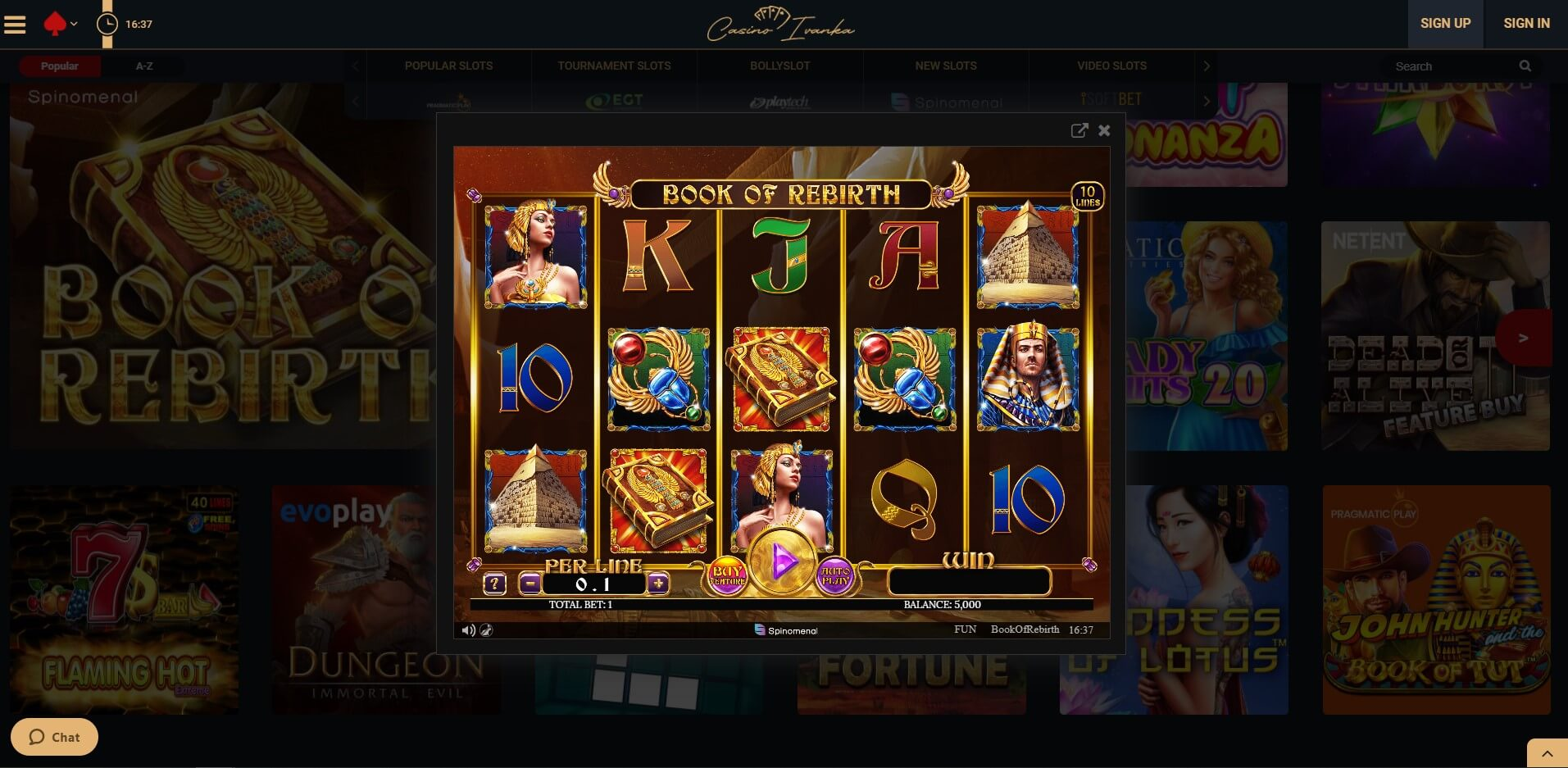Game play at Ivanka Casino