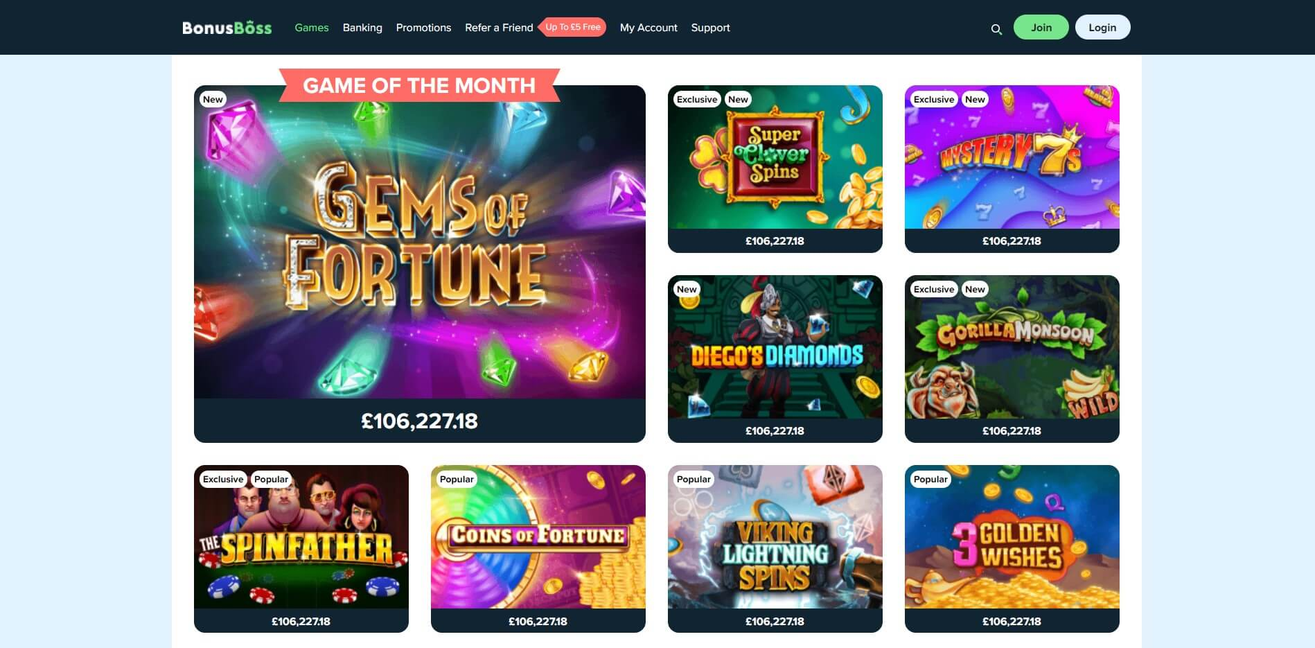 Games at BonusBoss Casino