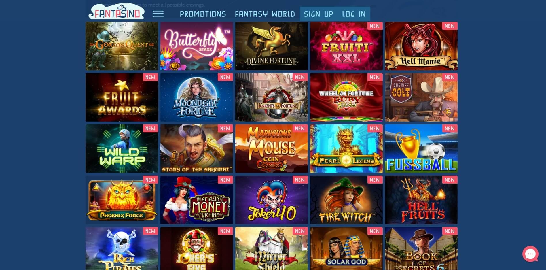 Games at Fantasino Casino