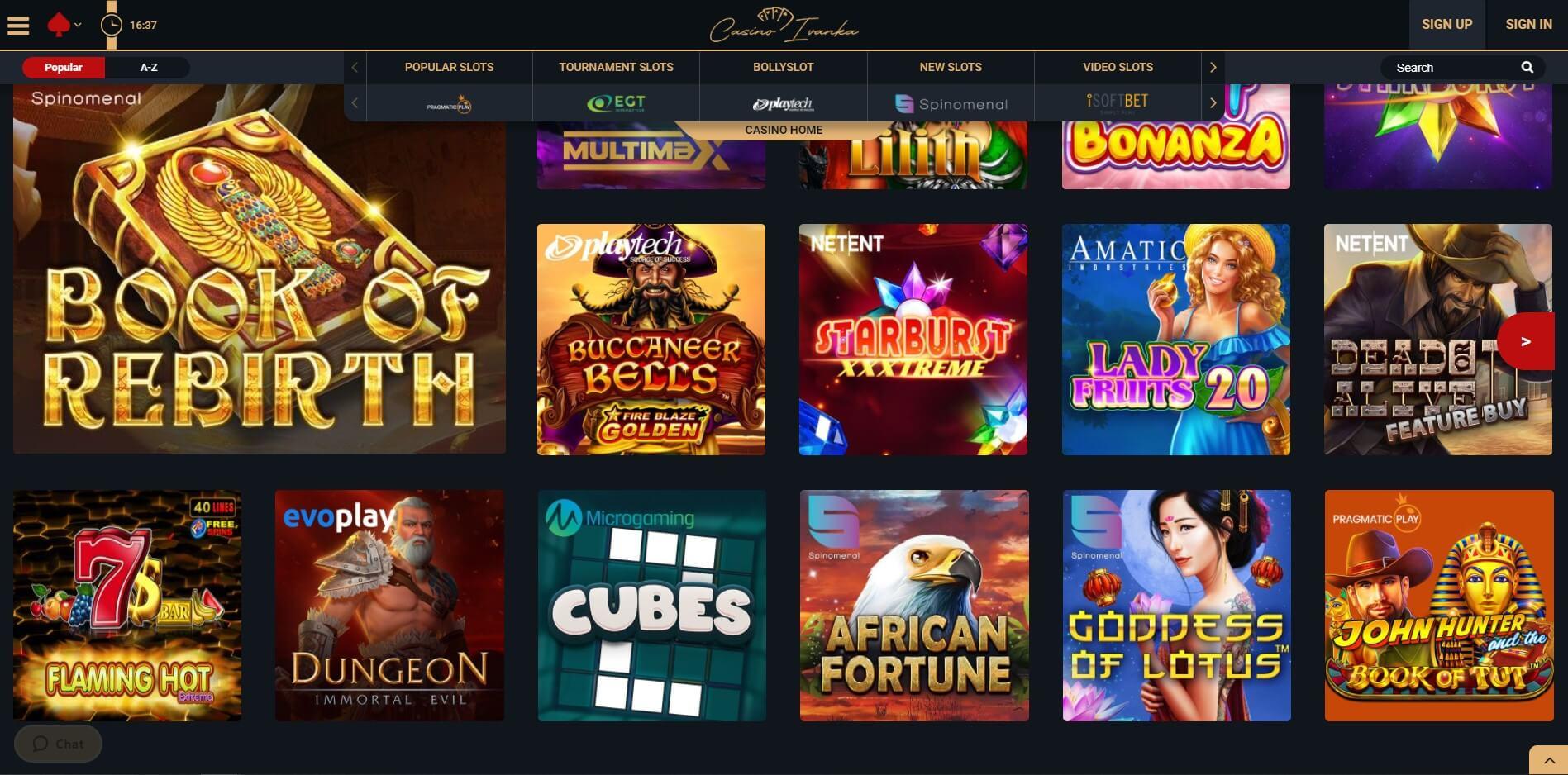Games at Ivanka Casino