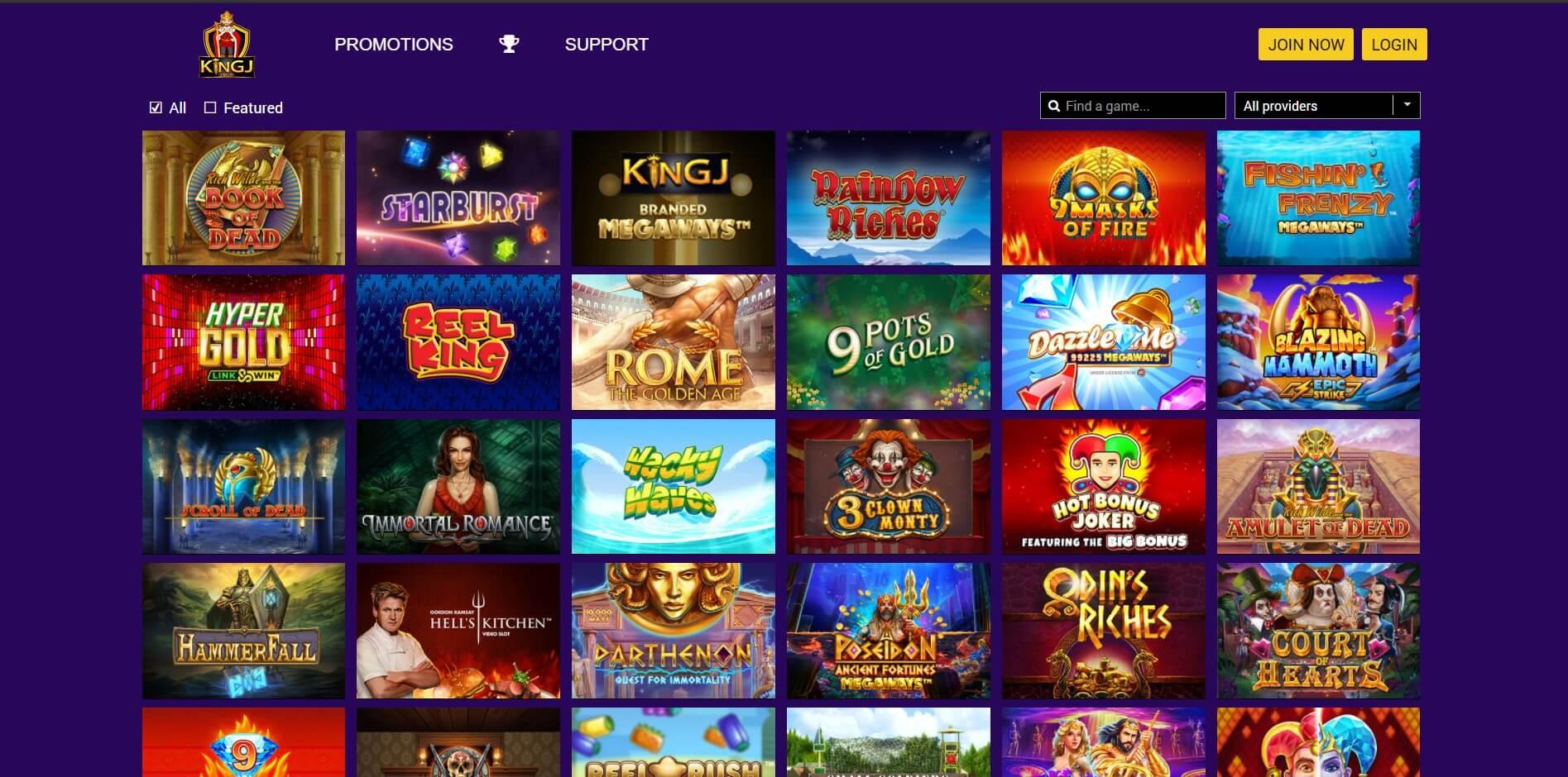 Games at KingJ Casino