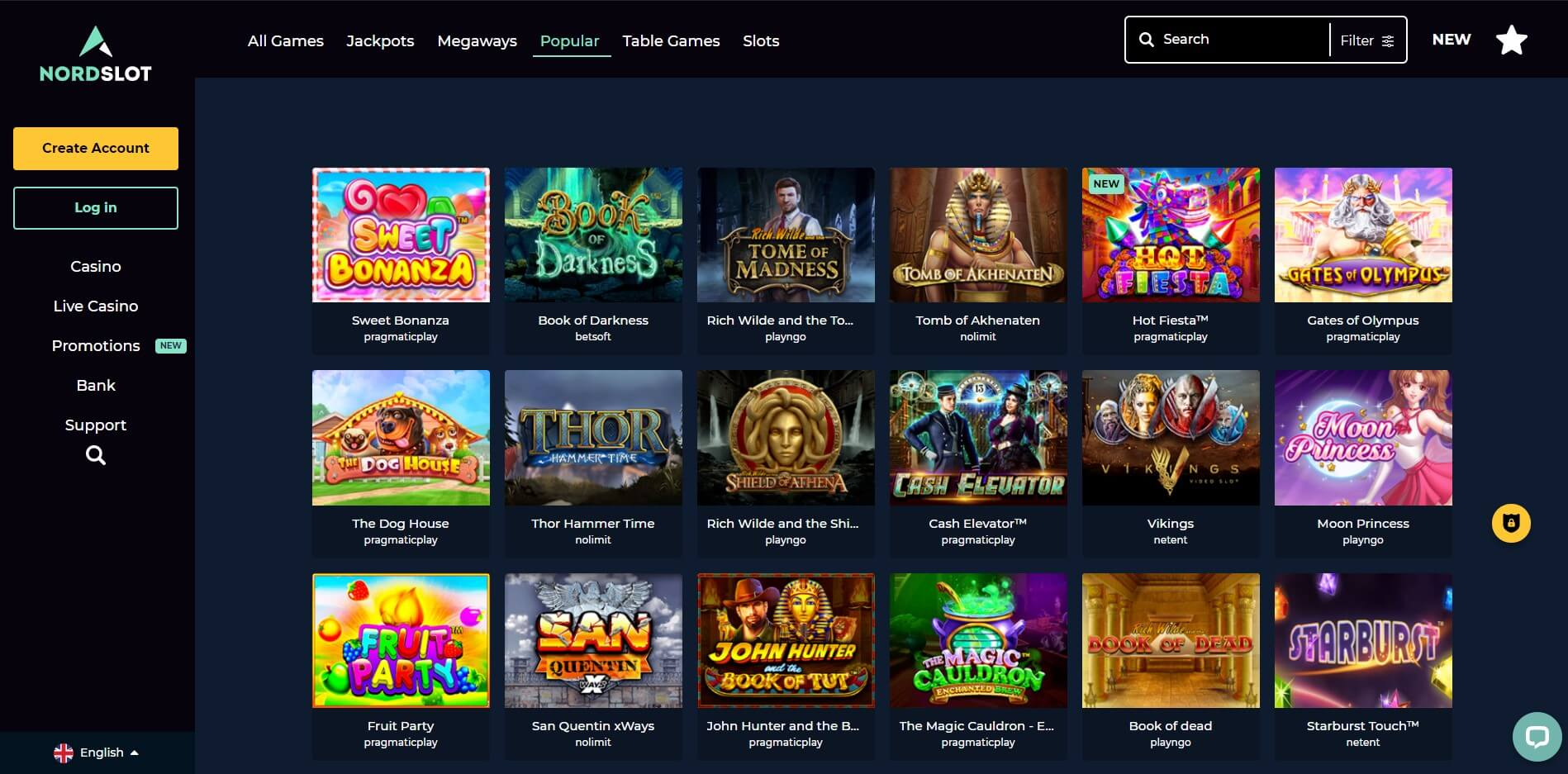 Games at NordSlot Casino